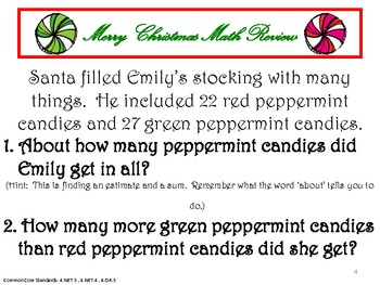 Christmas Math Review Packet - Common Core Aligned