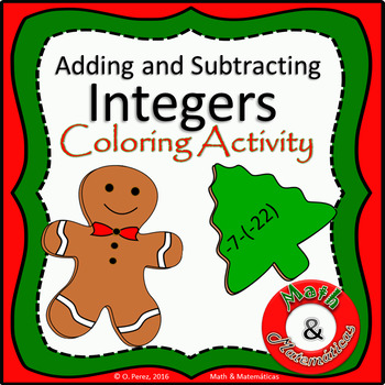 Christmas Math Review-  Integers Operations Coloring Activity TEK 6.3D