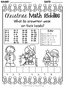 Christmas Math Riddle Printables