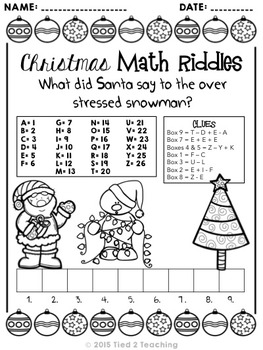 Christmas Math Riddle Printables