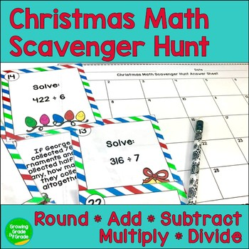 Christmas Activities: Math Scavenger Hunt Review for 4th or 5th Grade