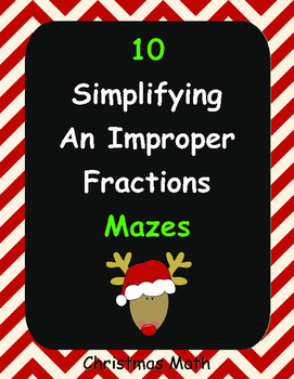 Christmas Math: Simplifying an Improper Fractions Maze