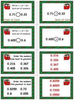 Christmas Math Skills & Learning Center (Compare & Order Decimals)