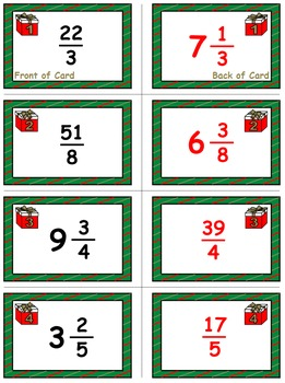 Christmas Math Skills & Learning Center (Improper Fractions & Mixed Numbers)