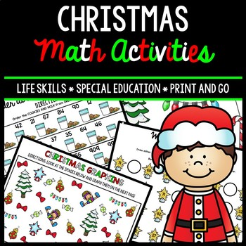 Christmas Math Special Education Life Skills Print & Go Worksheets