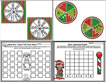 Christmas Math Spinner Fun! (Addition,counting and more!)
