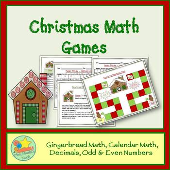 Christmas Math Games - Money, Patterning, Decimals, Odd and Even Numbers