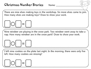 Christmas Math Stories- Word Problems for Kindergarten and First Grade