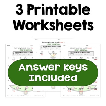 Christmas Subtracting Decimals Worksheets (Differentiated with 3 Levels)