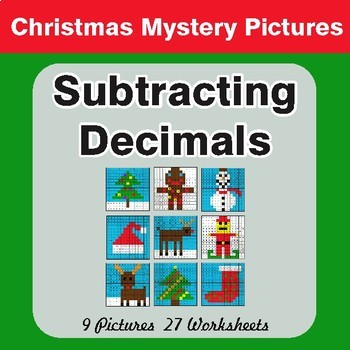 Christmas Math: Subtracting Decimals - Color-By-Number Math Mystery Pictures