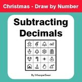 Christmas Math: Subtracting Decimals - Math & Art - Draw b