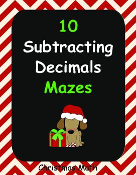 Christmas Math: Subtracting Decimals Maze