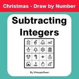 Christmas Math: Subtracting Integers - Math & Art - Draw b