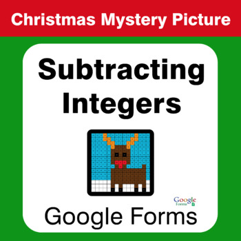 Christmas Math: Subtracting Integers - Mystery Picture - Google Forms