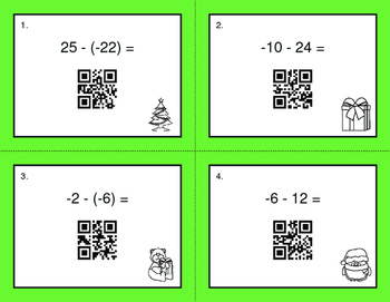 Christmas Math: Subtracting Integers QR Code Task Cards