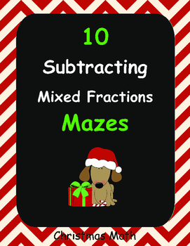 Christmas Math: Subtracting Mixed Fractions Maze