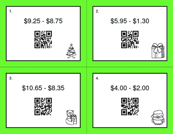 Christmas Math: Subtracting Money QR Code Task Cards