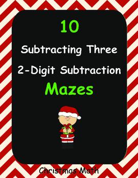 Christmas Math: Subtracting Three 2-Digit Subtraction Maze