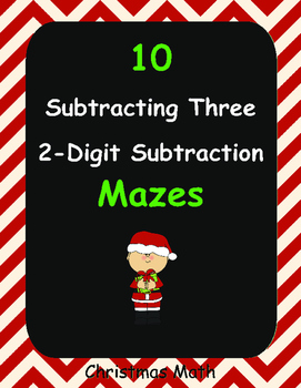 Christmas Math: Subtracting Three 2-Digit Subtraction Maze
