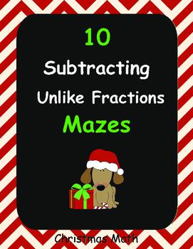 Christmas Math: Subtracting Unlike Fractions Maze