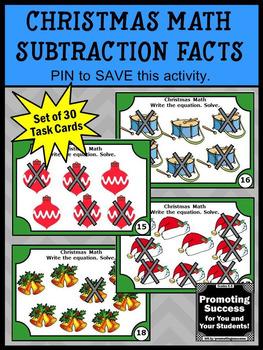 Christmas Math Centers Subtraction Facts Kindergarten Games & Activities