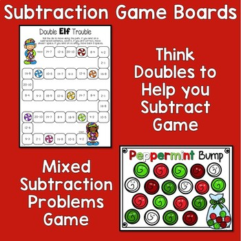 Christmas Math - Subtraction Facts to 20 - Activities and Games