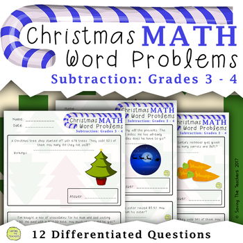 Christmas Math Subtraction Word Problems: Grades 3 - 4