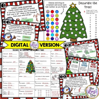 Christmas Math Task Card Set of 24 Tasks with Answer Keys & All Recording Sheets
