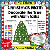 Christmas Math Task Card Set of 24 Tasks with Answer Keys
