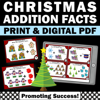 Christmas math addition facts games task cards activities
