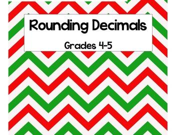 Christmas Math Task Cards-Decimal Rounding
