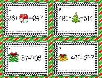 Christmas Math Task Cards for 4th Grade: Missing Number: Math Centers: Workshop
