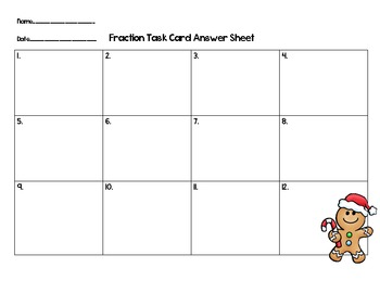 Christmas Math Task Cards-Gingerbread Fraction Word Problems