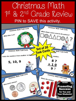 1st or 2nd Grade Christmas Math Centers, Addition, Subtraction, Telling Time +