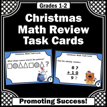 Christmas Math Task Cards for 1st 2nd Grade Centers Games