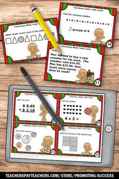 Christmas Math Activities, 2nd Grade Math Centers SCOOT Games