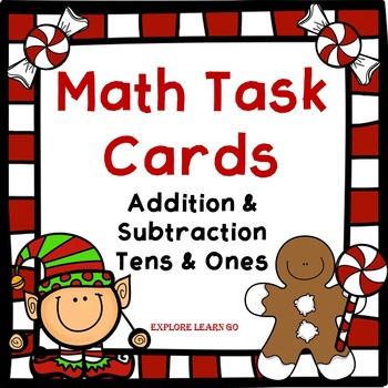 Christmas Math Task Cards / Holiday Addition and Subtraction