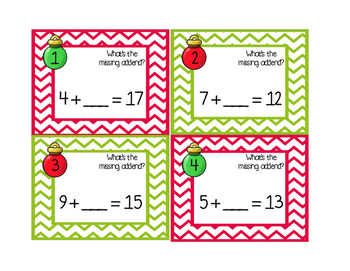 Christmas Math Task Cards- Missing Addends
