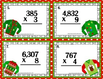 Christmas Math Task Cards for 4th Grade: Multiplication: Math Centers: Workshop