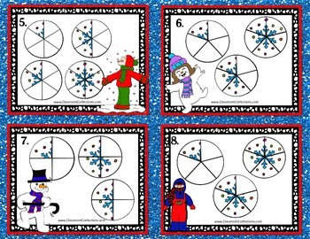 Christmas Math Task Cards for 4th Grade: Fractions: Math Centers: Math Workshop