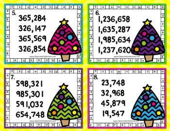 Christmas Math Task Cards for 4th Grade: Ordering Numbers: Math Centers