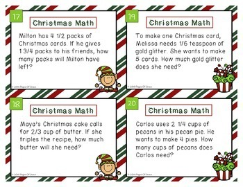 Christmas Math Task Cards-Real Life Word Problems