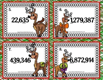Christmas Math Task Cards for 4th Grade: Rounding: Math Centers: Math Workshop