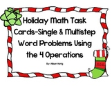 Christmas Math Task Cards-Single and Multistep Word Problems