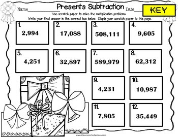 Christmas Math Task Cards for 4th Grade: Subtraction: Math Centers: Workshop
