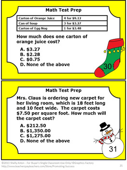 4th Grade Math Centers, Christmas Math Activities & Games SCOOT