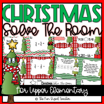 Christmas Math Solve The Room (or Scoot!)