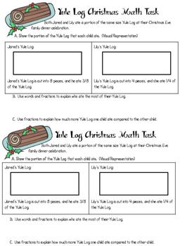 Christmas Math Tasks for Fractions