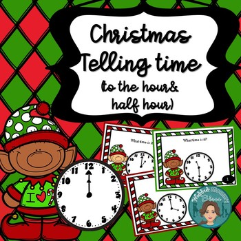 Christmas Math Telling Time (to hour & half hour) Task Card