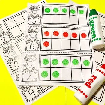 Christmas Math Centers | Ten Frames | Counting Mats | Playdough Mats
